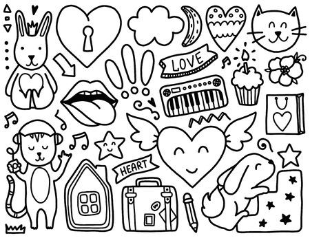 Doodles Elementos Lindo. Colorear Vector Negro. Ilustración Con ...