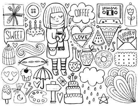 귀여운 요소 스케치 일러스트
