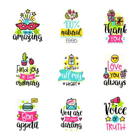 phrases: Vector calligraphy with decor elements