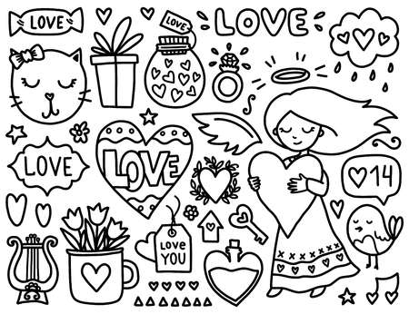 elixir: Doodles cute valentines elements