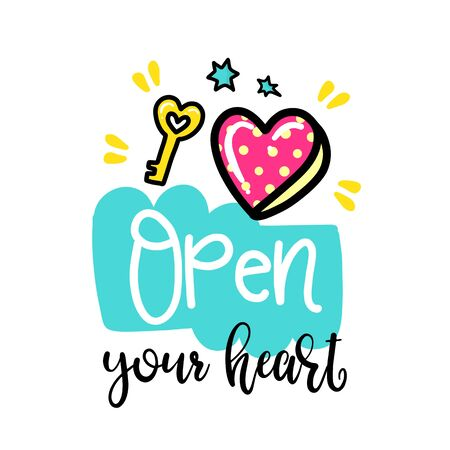 open your heart: Vector hand drawn lettering poster. Creative typography card with phrase, hearts and decor elements. Open your heart. Romantic text, Valentines day theme.