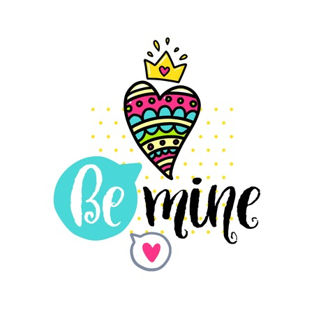 Vector hand drawn lettering poster. Creative typography card with phrase, hearts and decor elements. Be mine. Romantic text, Valentines day theme. Stock Photo