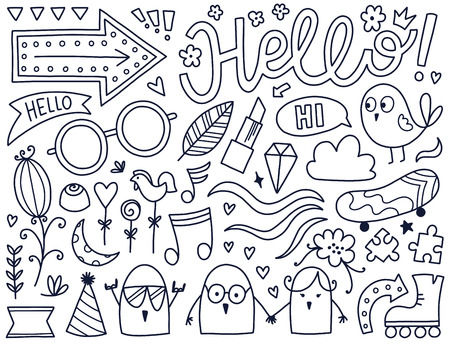 Doodles cute isolated elements.