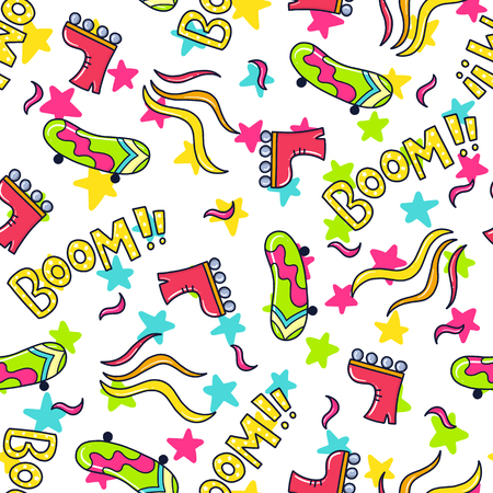Doodles cute seamless pattern. Color vector background. Illustration with skateboard and rollers. Design for T-shirt, textile and prints.