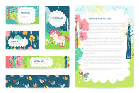 Business cards with color illustration