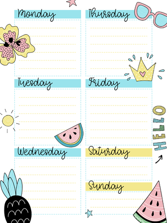 Weekly summer planner template