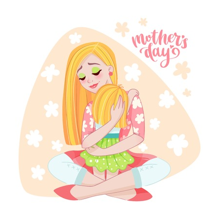 Moederdag kaart met moeder en haar kind. Kleur vector poster, geïsoleerde afbeelding met belettering en meisje. Floral achtergrond en zin. Ontwerp voor kleding en prints.