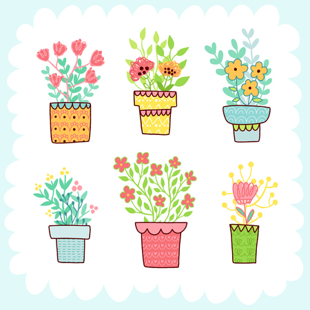 Doodles cute elements, spring theme. Color vector items collection. Illustration with pots, leaves and flowers. Design for prints and cards.