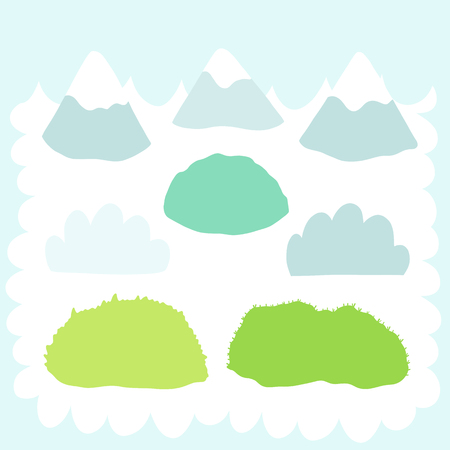 Doodles cute elements, spring theme collection. Color vector items. Illustration with mountains and clouds, glades and grass. Design for prints and cards.