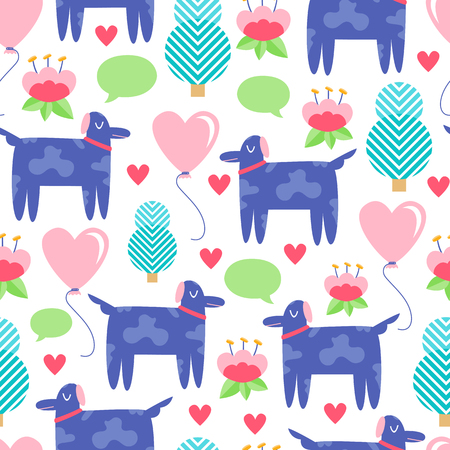 Seamless creative pattern. Vector background with dog and different elements. Design for prints, shirts and posters.