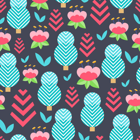 Seamless nature creative pattern. Vector background with different elements. Design for prints, shirts and posters.