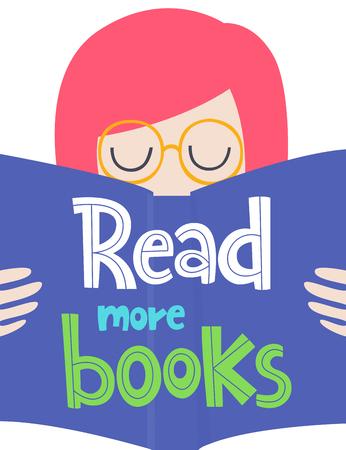 Tarjeta de vector creativo con frase y mujer. Artículos coloridos y letras, tema de lectura. Diseño para impresiones. Lee más libros.