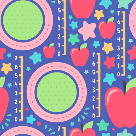 Seamless creative pattern. Vector background with apples and different elements. Design for prints, shirts and posters.
