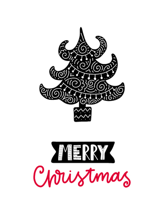 Colorful Christmas vector card. Lettering with illustration in Scandinavian style. Creative poster with phrase.