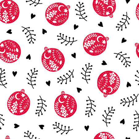 Seamless Christmas pattern. Vector winter background with ball, heart and different elements. Scandinavian design for prints, shirts and posters. Illustration