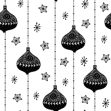 Seamless Christmas pattern. Vector winter background with toy, beads, star and different elements. Scandinavian design for prints, shirts and posters. Illustration