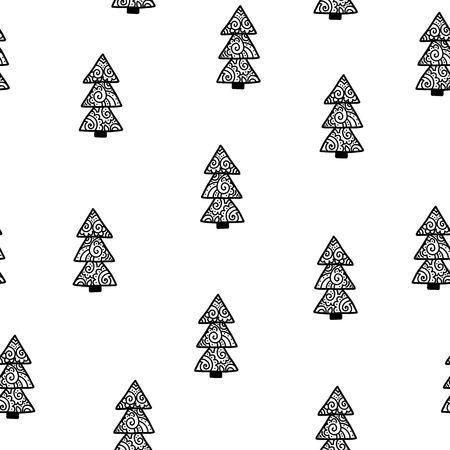 Seamless Christmas pattern. Vector winter background with trees. Scandinavian design for prints, shirts and posters.