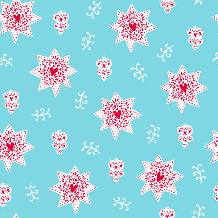 Seamless Christmas pattern. Vector winter background with star, toy and different elements. Scandinavian design for prints, shirts and posters.