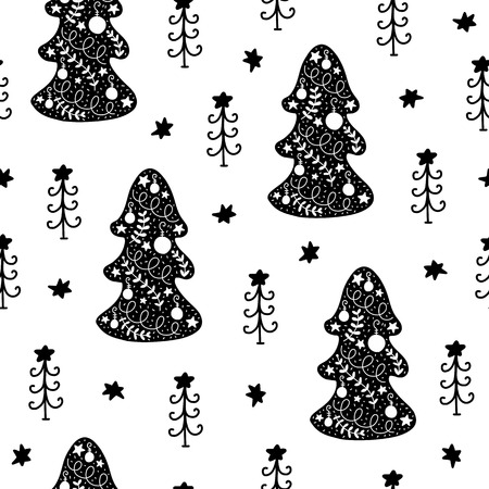Seamless Christmas pattern. Vector winter background with tree, star anddifferent elements. Scandinavian design for prints, shirts and posters.