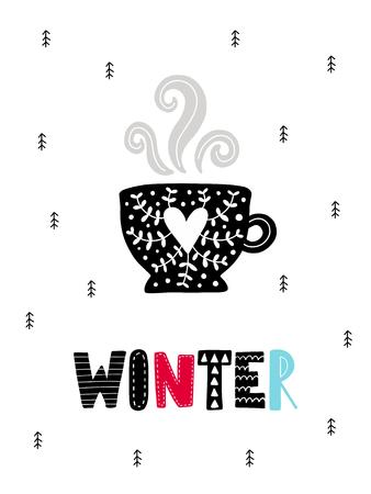 Kleurrijke kerst vector kaart. Belettering met illustratie in Scandinavische stijl. Creatieve poster met zin.