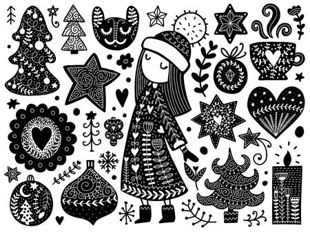 낙서 크리스마스 요소입니다. 색 벡터 항목입니다. 새 해 장식으로 그림입니다. 인쇄 및 카드를위한 스칸디나비아 디자인.