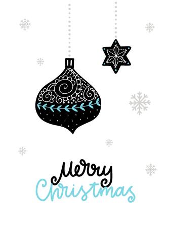 カラフルなクリスマス ベクトル カード。北欧スタイルのイラストの文字。フレーズと創造的なポスター。