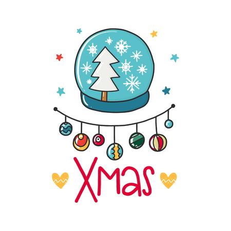 문구, 나무 및 장식 요소 벡터 크리스마스 포스터. 타이포그래피 카드, 컬러 이미지. 티셔츠 및 인쇄물 디자인.
