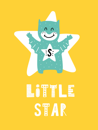 다채로운 유치원 벡터 카드, 스 칸디 나 비아 스타일로 일러스트와 함께 레터링, 아이와 구문 크리 에이 티브 포스터.