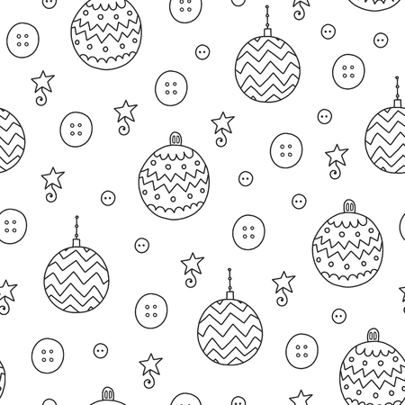 Doodles Christmas seamless pattern. Monochrome vector background, new year theme. Illustration with ball and button. Design for T-shirt, textile and prints.