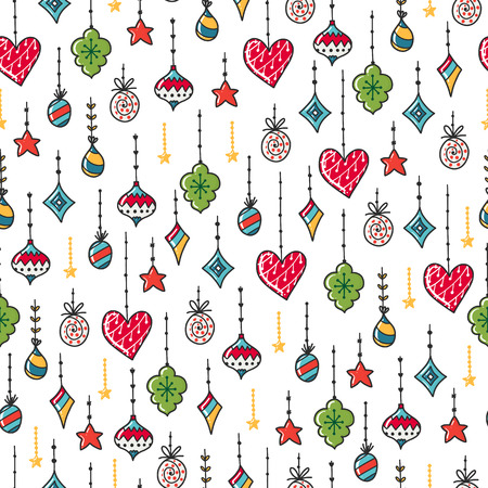 Doodles Christmas seamless pattern. Color vector background, new year theme. Illustration with toy and ball. Design for T-shirt, textile and prints. Illustration