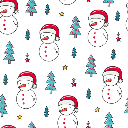 Doodles Christmas repeated pattern in colored background, Christmas theme, Illustration with snowman and fir tree, Design for T-shirt, textile and prints.