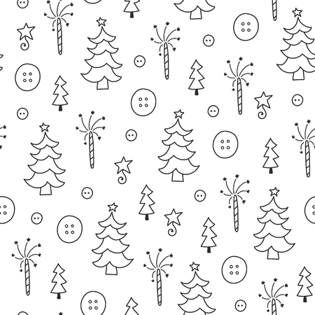 Doodles Christmas repeated pattern in black and white background, Christmas theme, Illustration with button, fir tree,  Design for T-shirt, textile and prints.