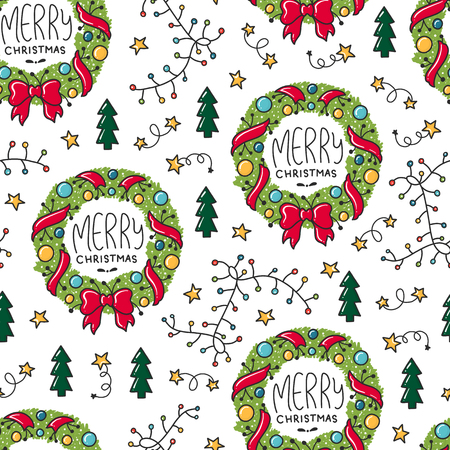 Doodles Christmas repeated pattern in colored background, Christmas theme, Illustration with wreath,  fir tree  Design for T-shirt, textile and prints.