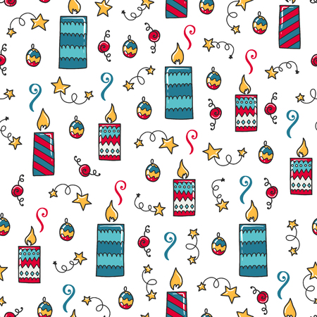 Doodles Christmas repeated pattern in colored background, Christmas theme, Illustration with candles, confetti, stars Design for T-shirt, textile and prints.