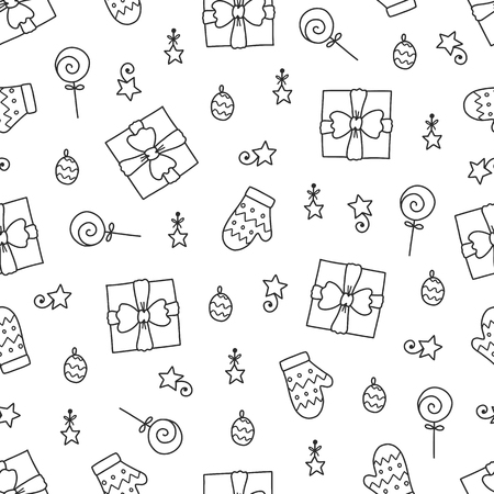 Doodles Christmas repeated pattern in black and white background, Christmas theme, Illustration with gifts and mitten,  Design for T-shirt, textile and prints. Çizim