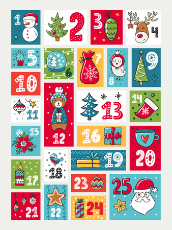 Colorful Advent calendar, Illustration with decorations and numerals, Christmas theme. 免版税图像 - 90589168