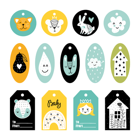 Kids vector tags collection. Colorful Scandinavian different illustrations and lettering.