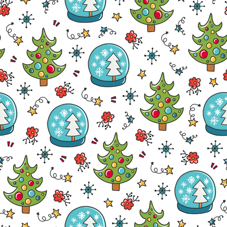 Doodles Christmas seamless pattern. Color vector background, new year theme. Illustration with tree and ball. Design for T-shirt, textile and prints. Illustration