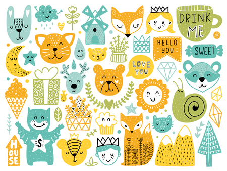 Scandinavian Kids Doodles elements. Color vector items. Illustration with new year decor. Design for prints and cards.
