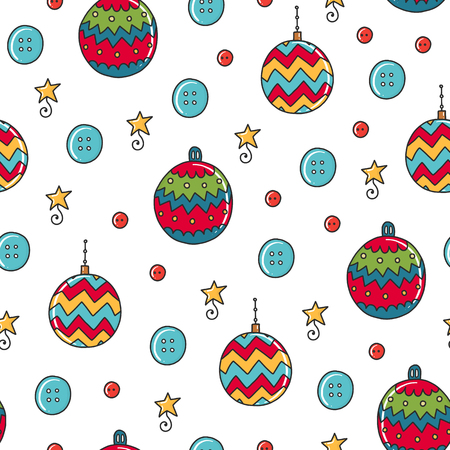 Doodles Christmas seamless pattern. Color vector background, new year theme. Illustration with ball and star. Design for T-shirt, textile and prints.