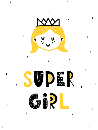 Colorful childish vector card. Lettering with illustration in Scandinavian style. Creative poster with girl and phrase.