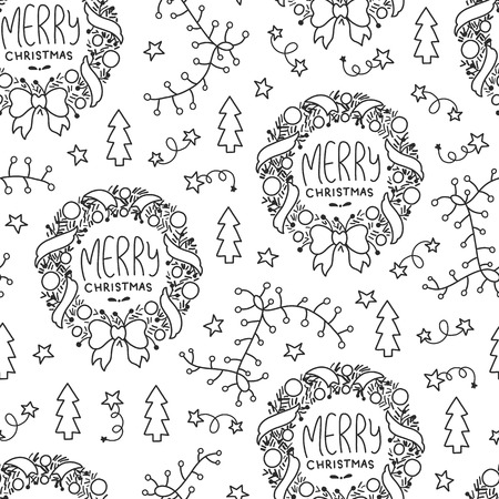 Doodles Christmas seamless pattern. Monochrome vector background, new year theme. Illustration with garland and tree. Design for T-shirt, textile and prints. Vettoriali