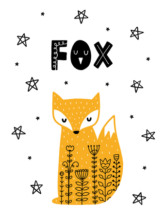 Colorful childish vector card. Lettering with illustration in Scandinavian style. Creative poster with fox and phrase. Çizim