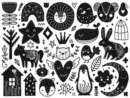 Scandinavian Kids Doodles elements. Monochrome vector items. Illustration with new year decor. Design for prints and cards.  イラスト・ベクター素材