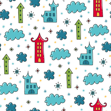 Doodles Christmas seamless pattern. Color vector background, new year theme. Illustration with hous and cloud. Design for T-shirt, textile and prints.