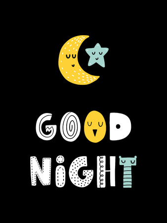 Colorful childish vector card. Lettering with illustration in Scandinavian style. Creative poster with moon and phrase.