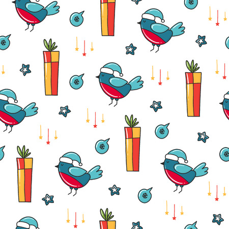 Doodles Christmas seamless pattern. Color vector background, new year theme. Illustration with bird and gift. Design for T-shirt, textile and prints.
