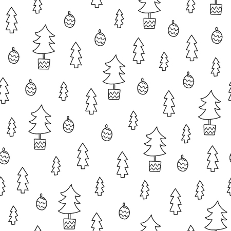 Doodles Christmas seamless pattern. Monochrome vector background, new year theme. Illustration with tree and ball. Design for T-shirt, textile and prints. Illustration