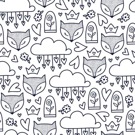 落書きかわいいシームレス パターン。モノクロのベクトルの背景。フォックス、バラ、ハートや雲の図。T シャツ、繊維、印刷、デザインします。  イラスト・ベクター素材