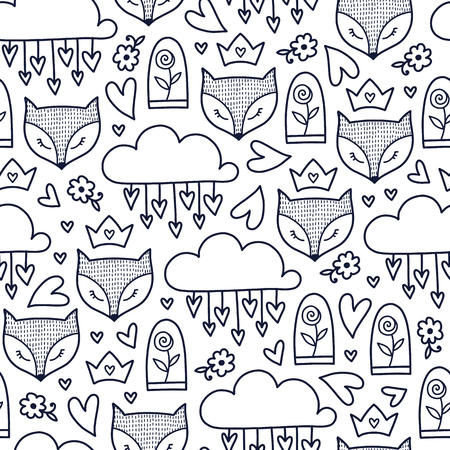 Doodles cute seamless pattern. Monochrome vector background. Illustration with fox, roses, hearts and clouds. Design for T-shirt, textile and prints.